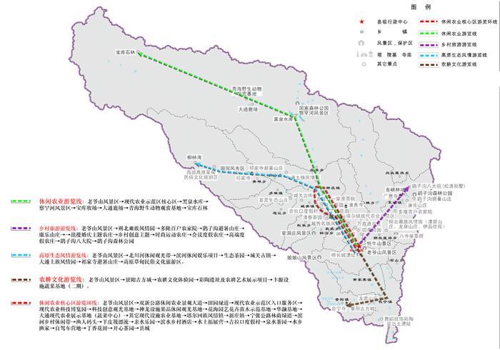 分布图 区内游线规划图 区域游线规划示意图 项目名称:青海省大通县